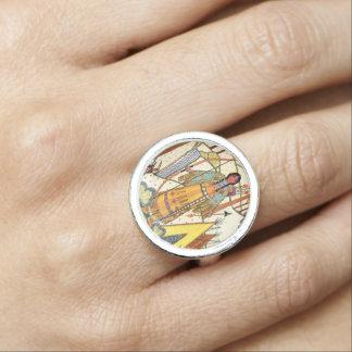 ネイティブアメリカンの未婚の長いブレードの黄色いテント小屋 指輪