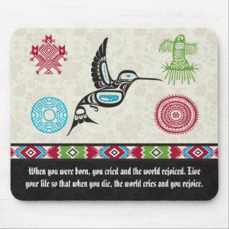 ネイティブアメリカンの記号および知恵-ハチドリ マウスパッド
