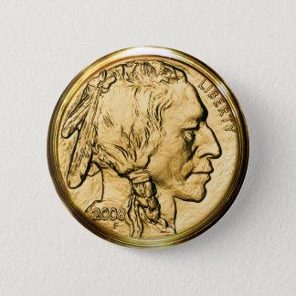 ネイティブアメリカンの金貨 5.7CM 丸型バッジ