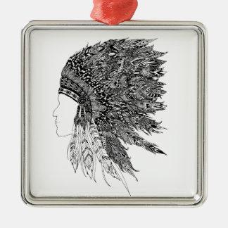 ネイティブアメリカンの頭飾り メタルオーナメント