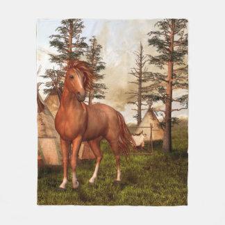 ネイティブアメリカンの馬のフリースブランケット フリースブランケット