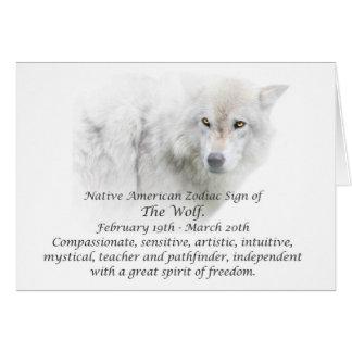 ネイティブアメリカンの(占星術の)十二宮図の印オオカミ カード