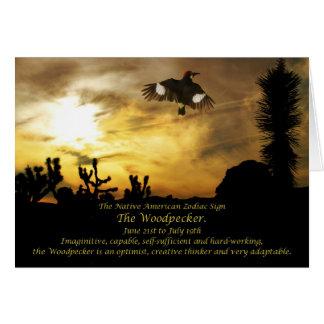 ネイティブアメリカンの(占星術の)十二宮図の印キツツキ蟹座 カード