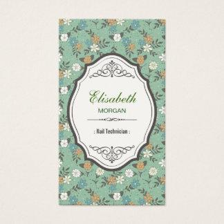 ネイリスト-エレガントなヴィンテージの花柄 名刺