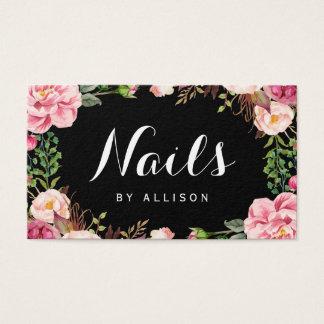 ネイルのサロンのネイリストのロマンチックな花の覆い 名刺