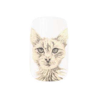 ネイルの白黒猫のスケッチ ネイルアート