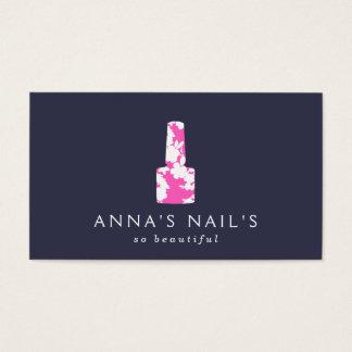 ネイルアーチストのピンクの花のマニキュア、ネイルサロン 名刺