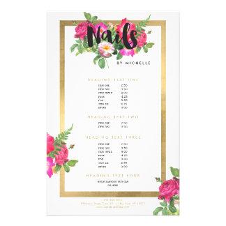 ネイルサロン、ネイルアーティストの花の原稿の文字の白 14CM X 21.6CM チラシ