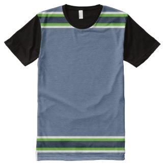 ネオンおよび海軍トリムと青灰色 オールオーバープリントT シャツ