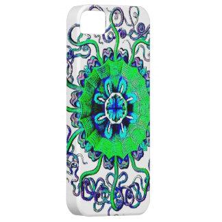 ネオンくらげの曼荼羅のグラフィックアートのデザインIphone iPhone SE/5/5s ケース