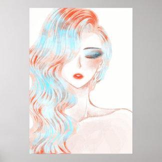 ネオンによって着色される女の子のアートワーク ポスター