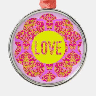 ネオンのフーセンガムのピンクのダマスク織愛花 メタルオーナメント
