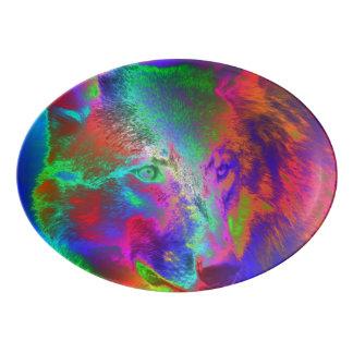 ネオンオオカミ 磁器大皿