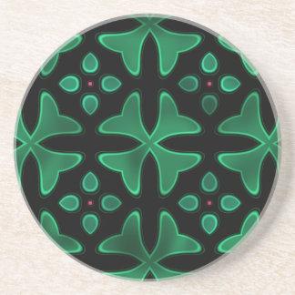 ネオンガラス3の黒い緑 コースター