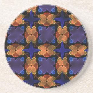 ネオンガラス6の青いオレンジ コースター