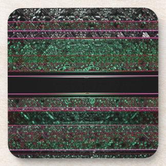 ネオングリッターの緑の黒の紫色のストライプのなデザイン コースター