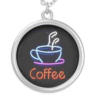 ネオンコーヒー印のネックレス シルバープレートネックレス