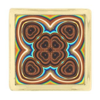 ネオンコーヒー花柄の抽象芸術 金色 ラペルピン