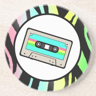 ネオンシマウマのプリント及びカセットテープ コースター