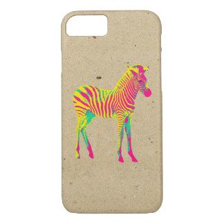 ネオンシマウマのベビーの動物のサイケデリックでファンキーなレトロ iPhone 8/7ケース