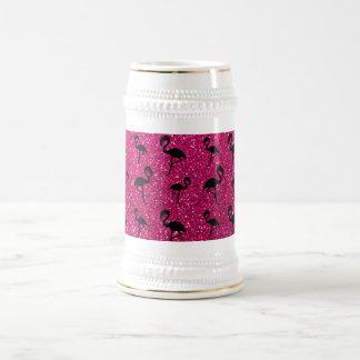 ネオンショッキングピンクのグリッターのフラミンゴ ビールジョッキ