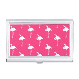 ネオンショッキングピンクの白いフラミンゴ 名刺入れ