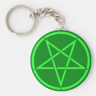 ネオンスタイルの緑の星形五角形の五芒星 キーホルダー