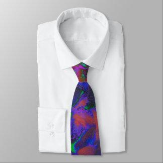 ネオンニットの結び目のプリントの段になった紫色の青緑 カスタムネクタイ