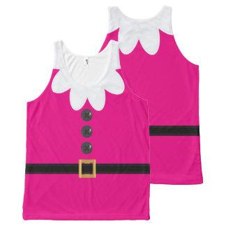 ネオンピンクのクリスマスの小妖精や小人のノベルティのタンクトップ オールオーバープリントタンクトップ