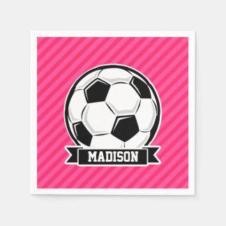 ネオンピンクのストライプのサッカーボール スタンダードカクテルナプキン