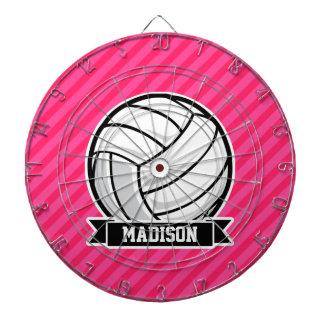 ネオンピンクのストライプのバレーボール ダーツボード