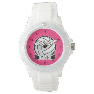 ネオンピンクのストライプのバレーボール 腕時計