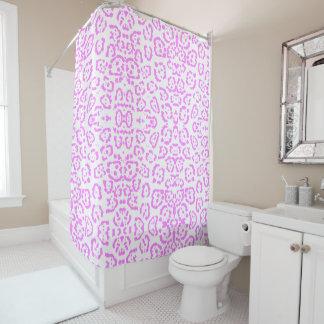ネオンピンクのチータのアニマルプリント シャワーカーテン