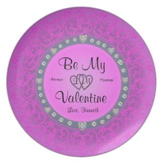 ネオンピンクのバレンタインデーのプレート プレート