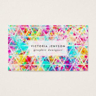 ネオンピンクの虹の水彩画の三角形パターン 名刺
