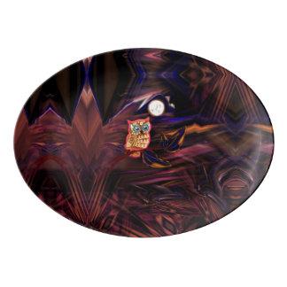 ネオンフクロウの雷雨のフラッシュのファンタジア 磁器大皿