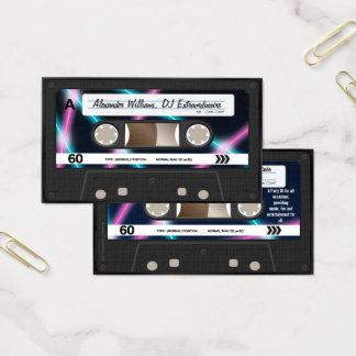 ネオンライトのカセットテープDJ音楽パーティー80s 名刺
