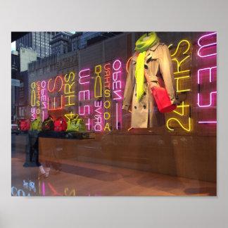 ネオンライトのデパートの窓ニューヨークNYC ポスター