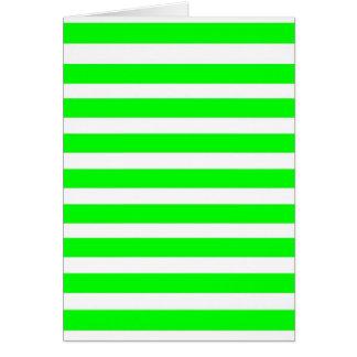 ネオンライムグリーンおよび白のストライプパターンノベルティ カード