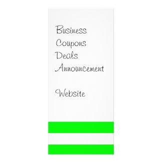 ネオンライムグリーンおよび白のストライプパターンノベルティ ラックカード