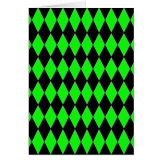 ネオンライムグリーンおよび黒ダイヤの道化師の軽い音 カード