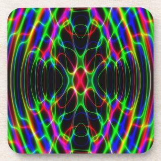 ネオンレーザー光線のサイケデリックな抽象芸術 コースター