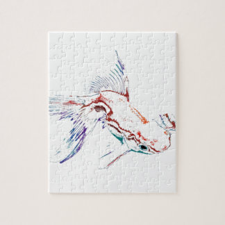 ネオン多彩なレインボーフィッシュか金魚またはコイ ジグソーパズル