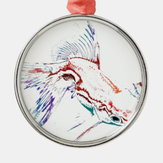 ネオン多彩なレインボーフィッシュか金魚またはコイ メタルオーナメント