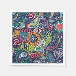 ネオン多彩な花のペイズリーパターン スタンダードカクテルナプキン
