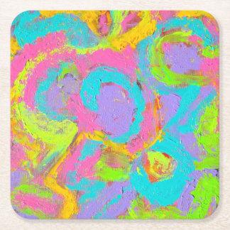 ネオン抽象芸術手の色彩の鮮やかなブラシストローク スクエアペーパーコースター