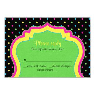 ネオン水玉模様のバルミツワーRSVPの応答カード カード