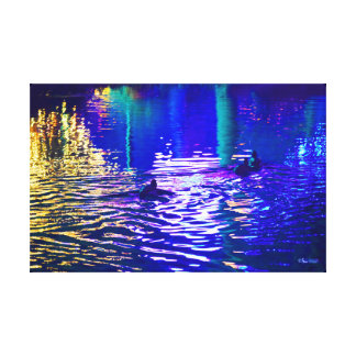 ネオン池のアヒル キャンバスプリント