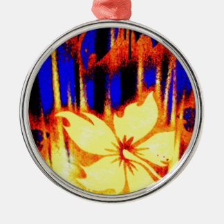 ネオン熱帯花の明るく及びカラフル メタルオーナメント