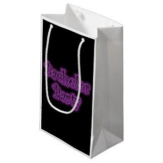 ネオン紫色のバチュラーパーティのギフトバッグ スモールペーパーバッグ